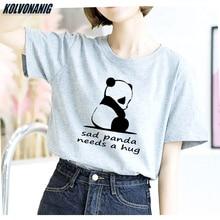 2019 Summer Humor Sad Panda Needs A Hug Printed T Shirt Women Cute Girl Casual Loose Short Sleeve Top Tees Funny Female T-Shirts