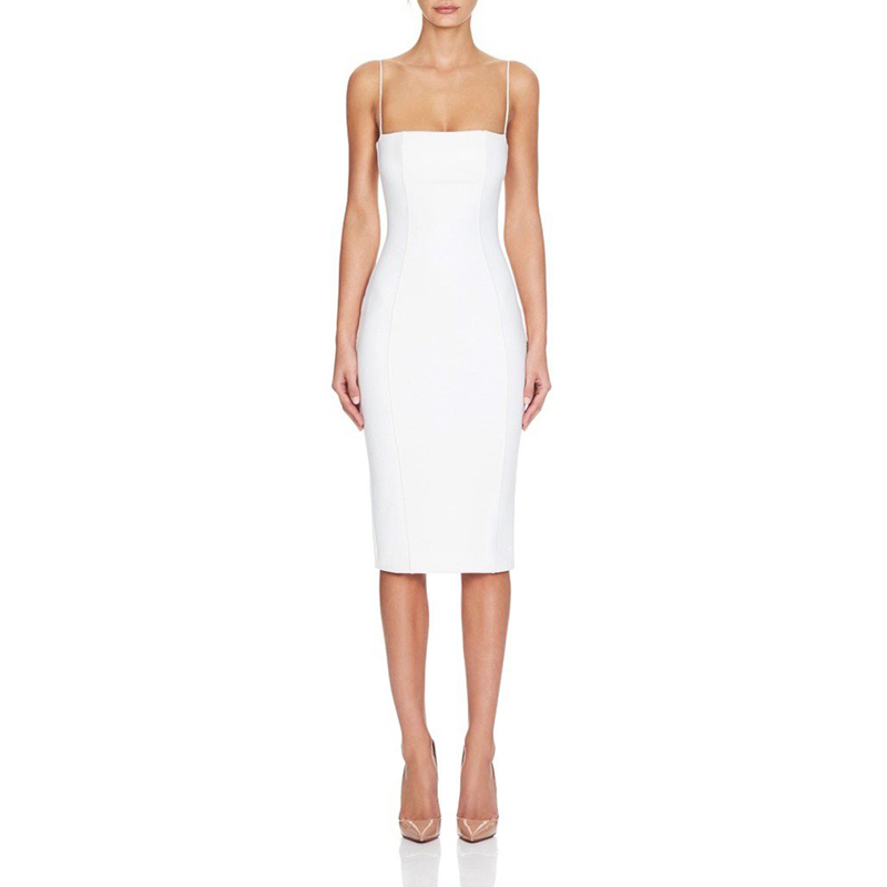 2019 nouveau Style Sexy genou-longueur gaine Spaghetti sangle Bandage robe blanc femmes moulante sans manches robe soirée fête robes