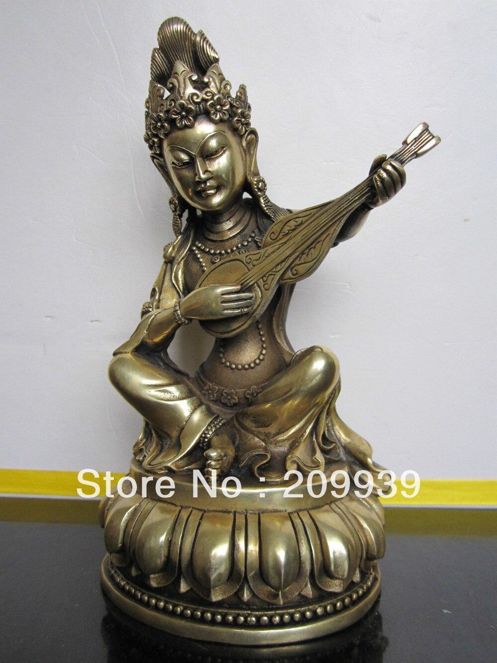 00933 Tibetan bronze Saraswati buddha statue statue statues buddha statue bronze - title=