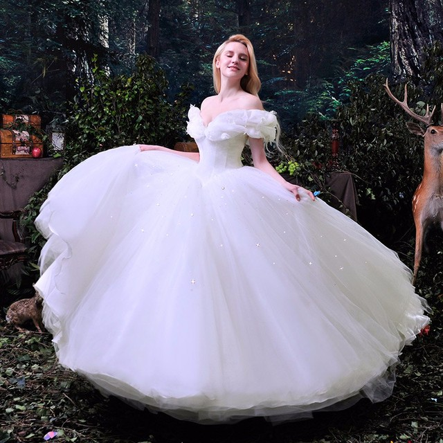 Hot Sale 2016 New Movie Deluxe Cinderella Wedding Dress Costume Bridal Adult Dresses