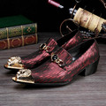 Christia Bella Brand Italian Fashion Mens Dress Shoes Genuine Leather Men Shoes Red Party Wedding Formal Shoes Men's Flats