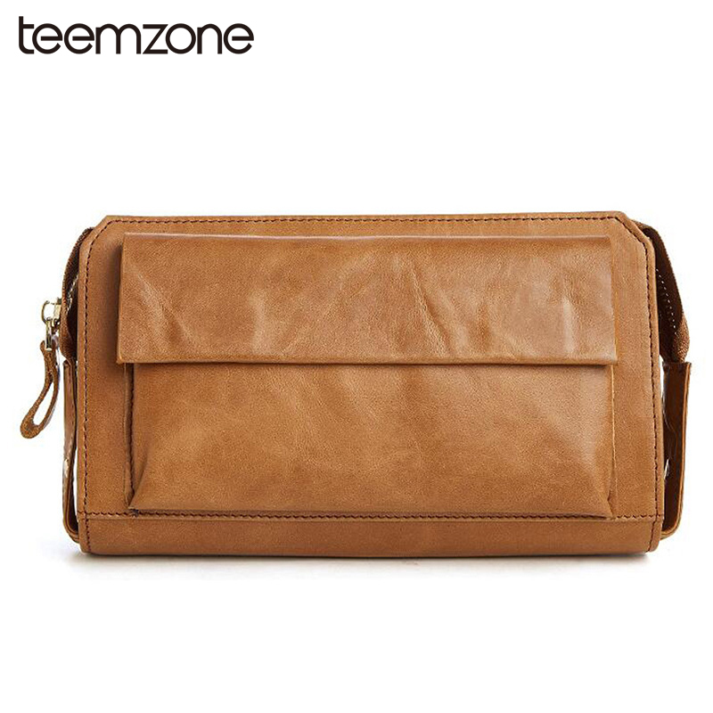 New Genuine Leather Men Vintage Zipper Clutch Wallet Brown Cow Leather Leisure Long Wallet Business Multi-capacity Clutch Bag 50 genuine cow leather vintage men wallet fashion zipper