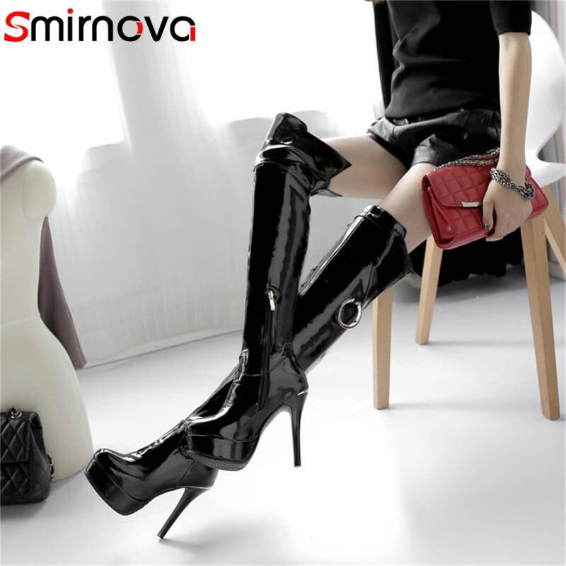 Smirnova 2018 fashion autumn winter shoes woman round toe platform super high ladies over the knee
