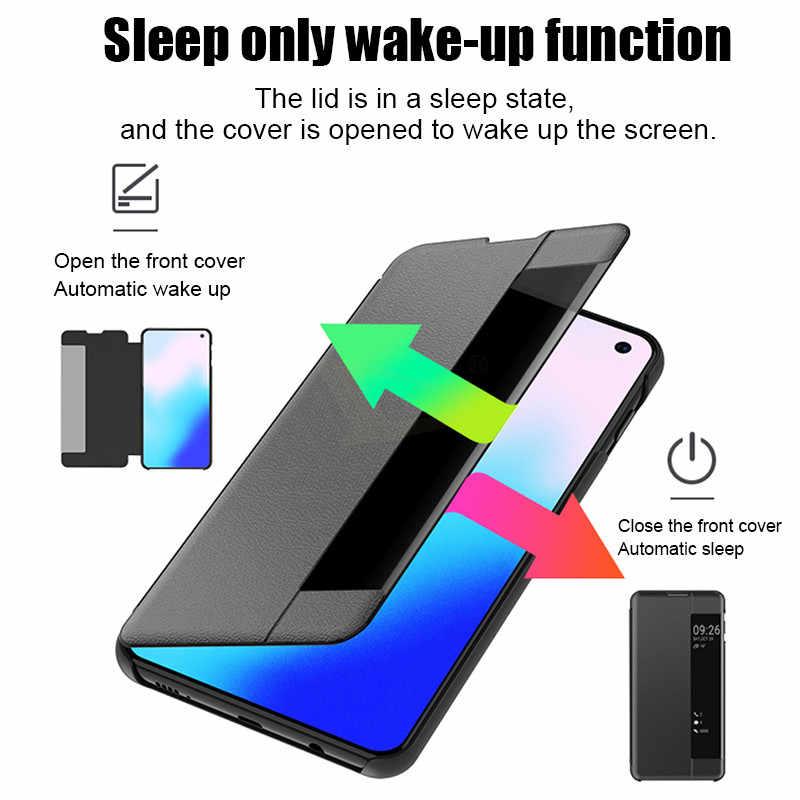 Роскошный кожаный флип-чехол для samsung Galaxy S7 Edge S9 S8 S10 Plus S10e противоударный чехол для A7 2018 Smart View phone Case