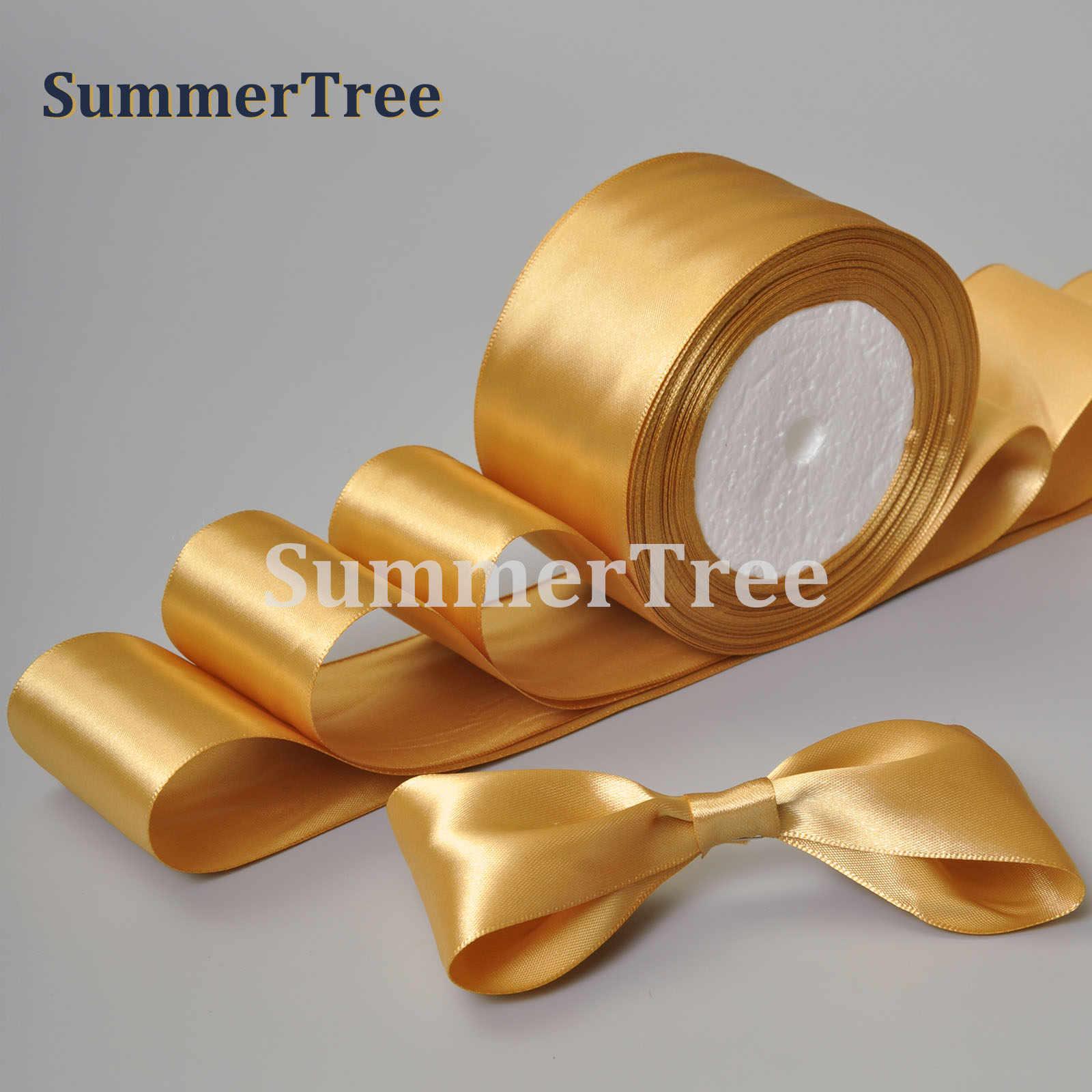 Oro 25 yardas 6mm 10mm 15mm 25mm 38mm 50mm de cinta de satén marco regalo arco artesanía de bricolaje hecha a mano suministros para fiesta de boda banquete Decoración