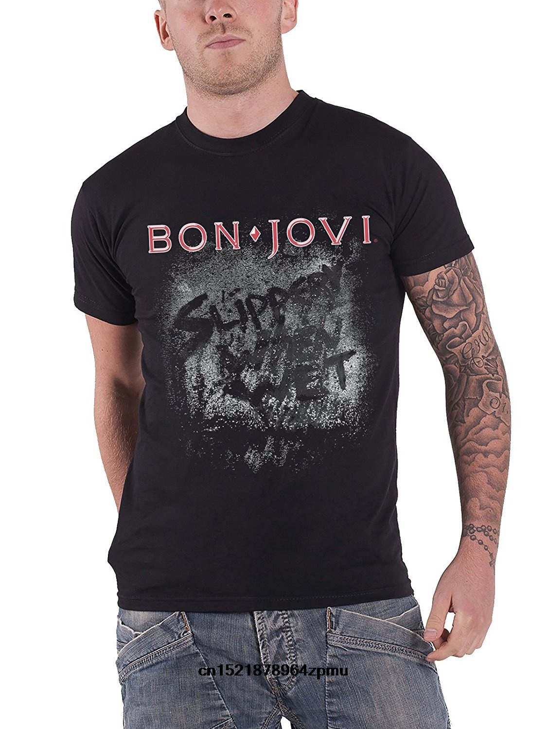 a47a06e46 Men t shirt Custom Summer Fashion Bon Jovi Slippery When Wet Album Band  Logo Black women