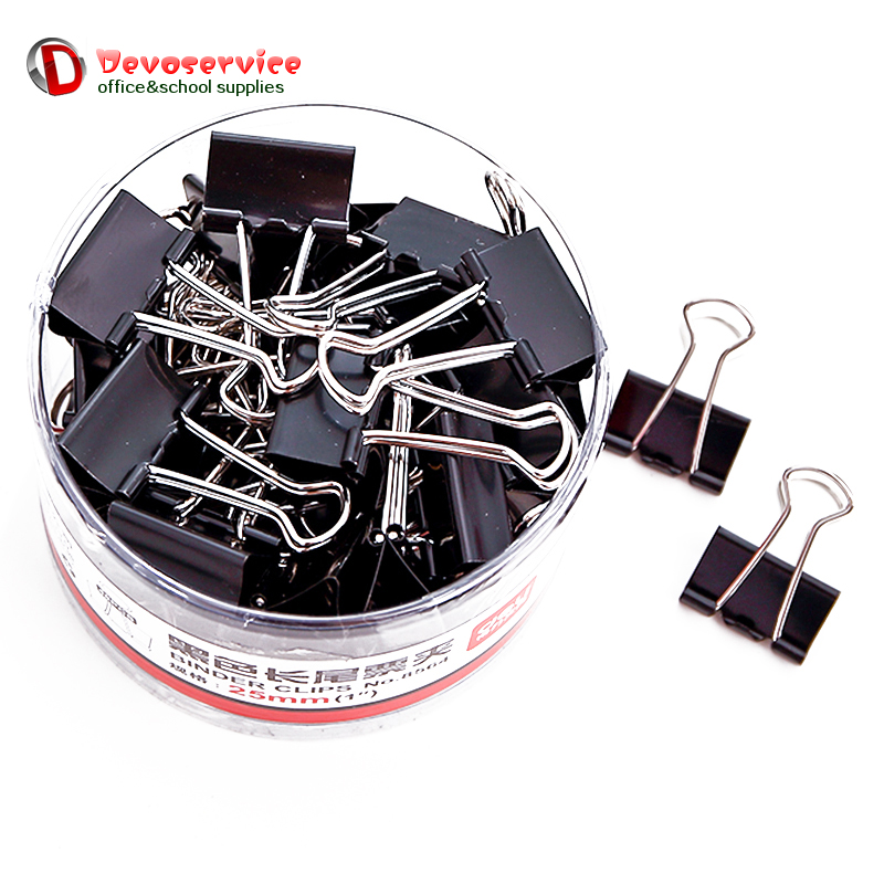 12PCS Metal Binder Clips Black Paper Clip 51 41 32 25 19 15MM Office School Supplies Stationery Binding Supplies Files Documents