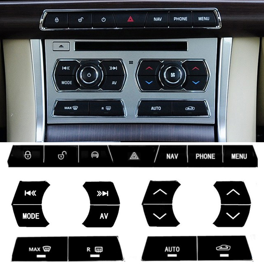 Car Interior Accessories Black Center Console Button Sticker For Jaguar XF Car Styling