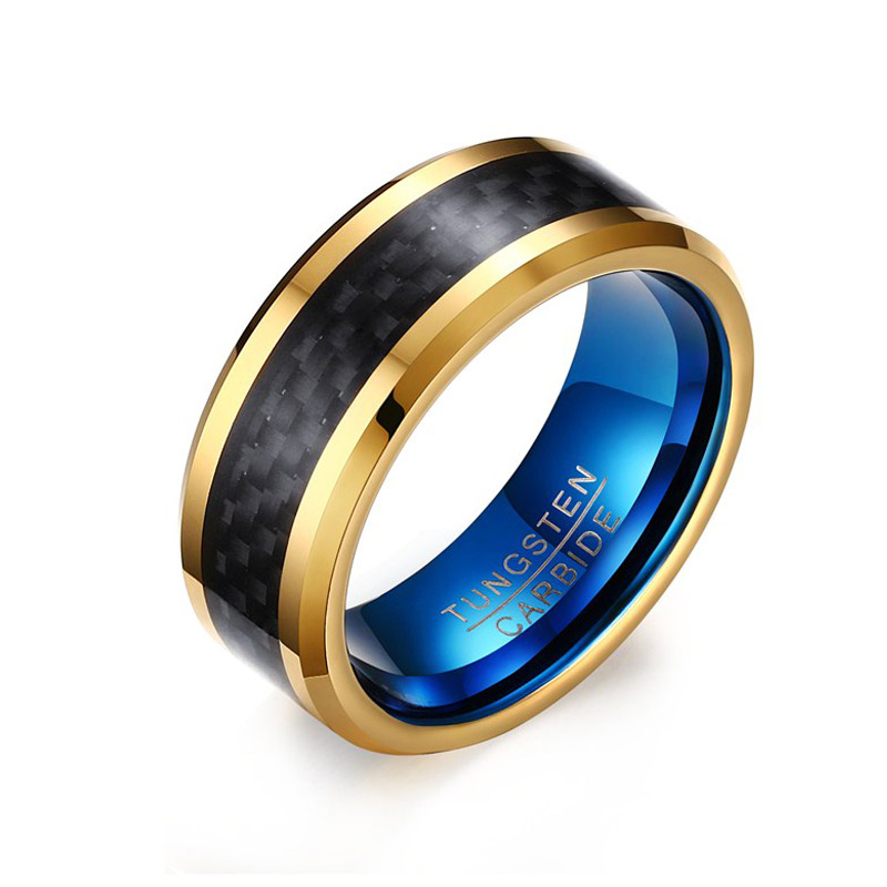8MM Blue Tungsten Carbide Rings for Men Jewelry with Black Carbon Fiber