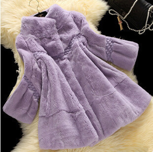 Brand Design Women Coat Fashion V-neck 100/100 Real Rex Rabbit Fur Coat Plus Size Warm Winter overcoat DA-17