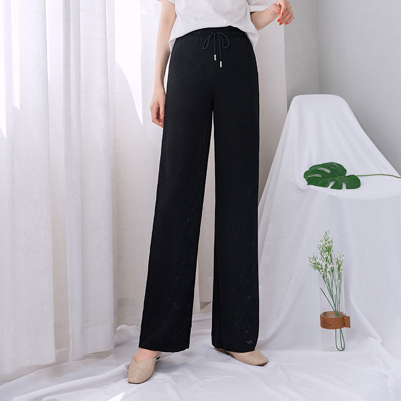 WEILAI Summer   Pants   Women Black Breathable See Through   Wide     Leg     Pants   High Waist Streetwear Trousers Summer Clothes for Women