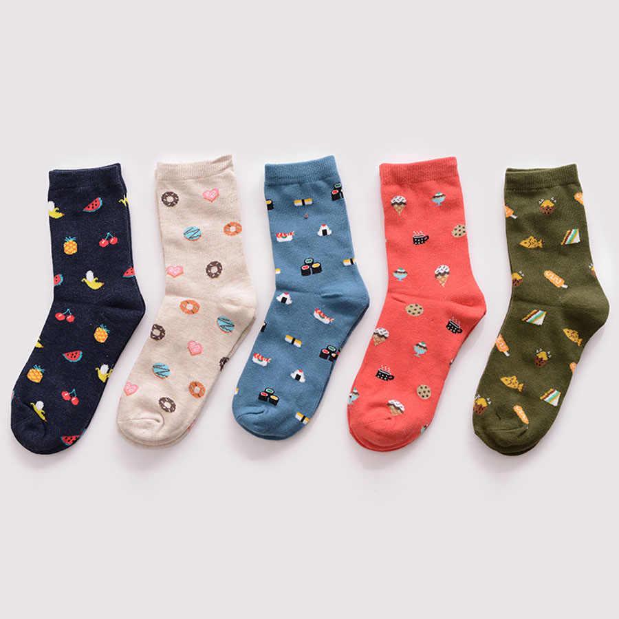 Calcetines de abrigo de invierno para mujer con estampado de animales de dibujos animados japonés Kawaii para niñas lindo calcetín Harajuku Vintage para mujer calcetín de streetwear