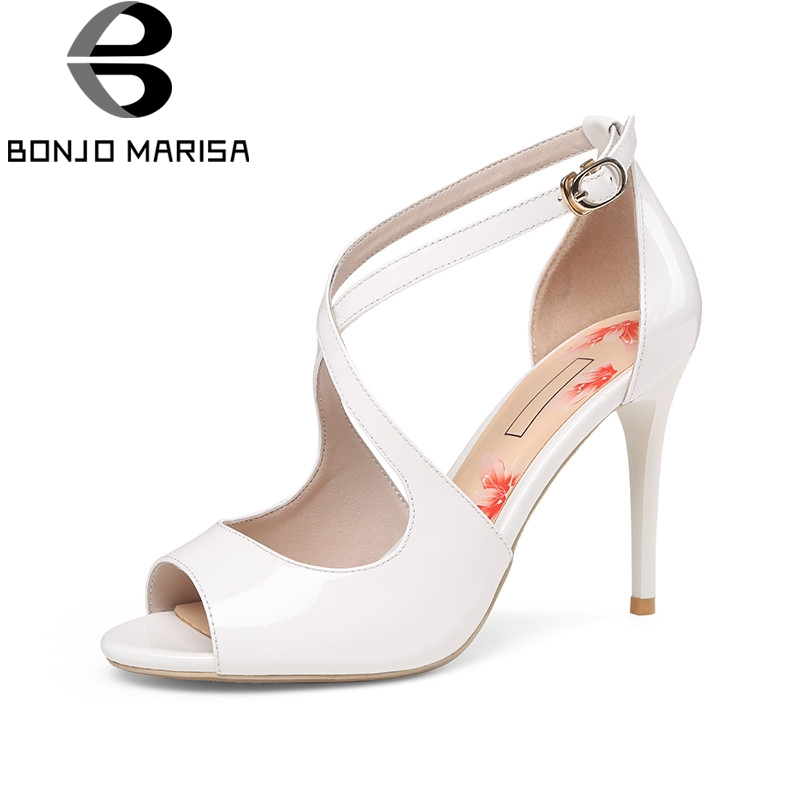 BONJOMARISA 2018 Summer Elegant Women Ol Sandals Genuine Leather High Heels Shoes Woman Lady Peep Toe Cool Daily Shoe Size 34-39 handmade genuine leather sandals women shoes lady high quality 2017 summer red silvery closed toe medium heels big size 10 41 42