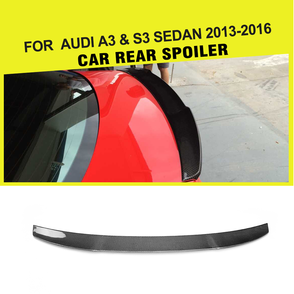 Carbon Fiber Auto Racing Rear Spoiler Lip Wing Car-Styling for Audi A3 / S3 Sedan 2013 Year UPCarbon Fiber Auto Racing Rear Spoiler Lip Wing Car-Styling for Audi A3 / S3 Sedan 2013 Year UP