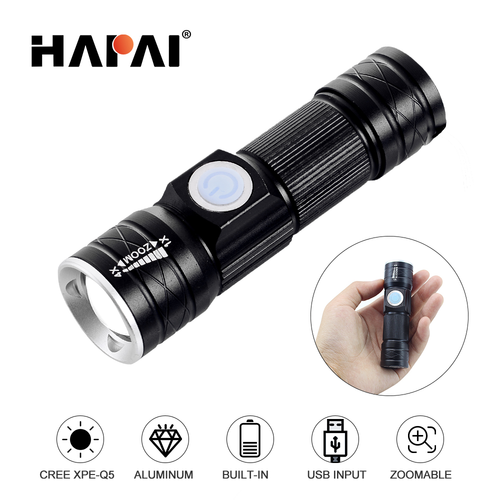 USB Inside Battery MINI LED Flashlight Rechargeable T6 / Q5 Zoomable Torch Flashlight LED Small Portable Flash Light