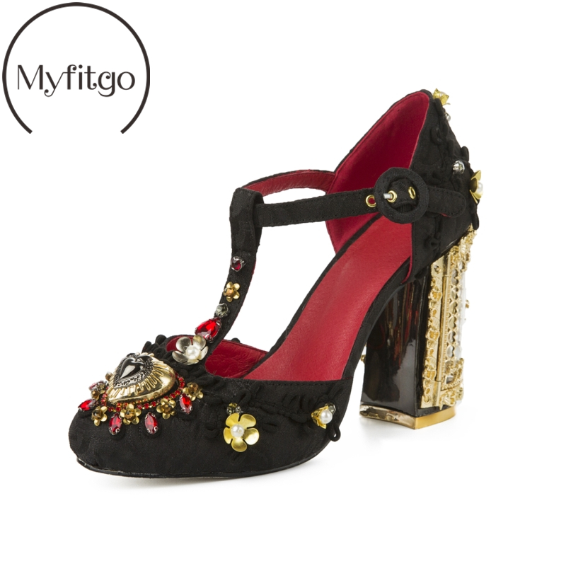 Myfitgo Handmade Luxury Dress Shoes Women Pumps Pearls Flower Embroidery Woman High Heels T-strap Sandals Ladies Fashion Heels