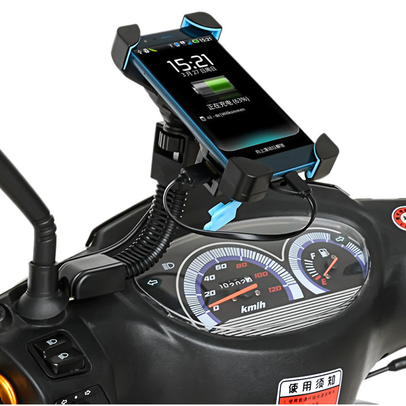 E-Bicycle Motorcycle Mobile Phone Holder Charger Support Smartphone Holder For Mobile Phones Scooter Charger For 3.5-7 Inch