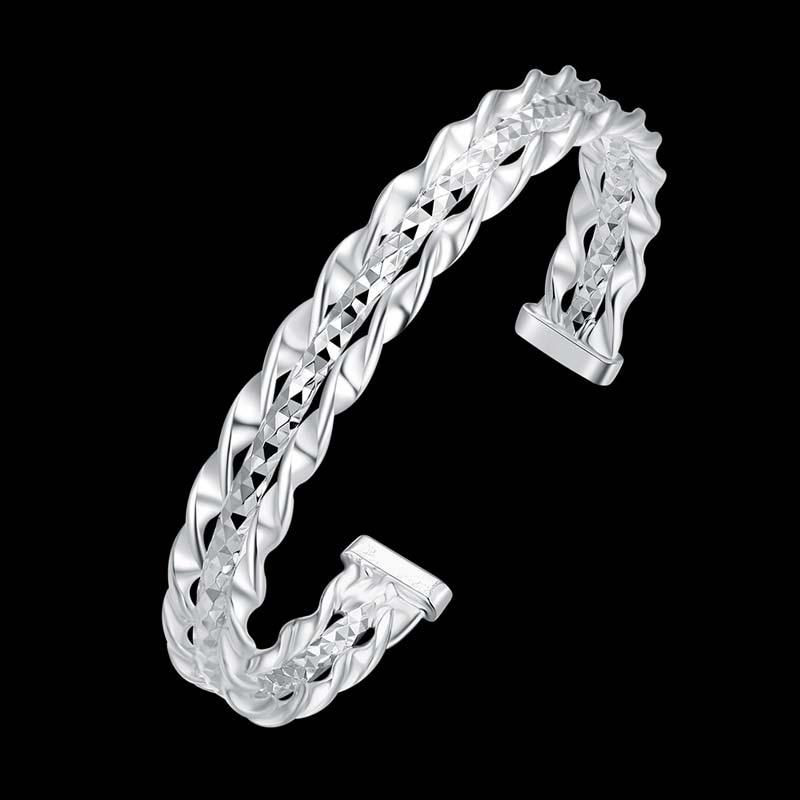 8a19975acb34 Moda 925 joyas de plata Pulsera con tres trenzado línea pulsera para las  mujeres PB005