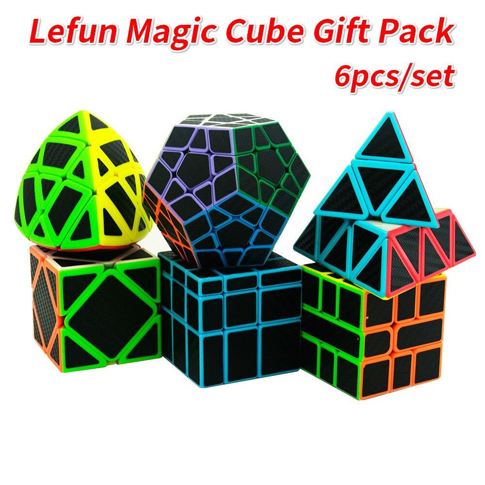 6 pièces/ensemble Lefun Magique Cube Mastermorphix + SQ-1 + Megamin + Miroir Bloc + Pyramin + Biais Noir autocollant Rubiks Cube