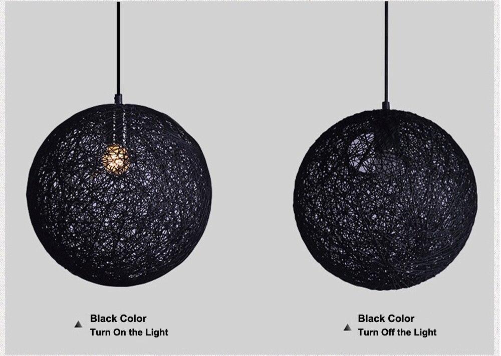LED Pendant Lights Weaving Bamboo E27 Idyllic Rattan Hanging Lamps Colorful Lighting Dining Room Restaurant Linen Art Light6
