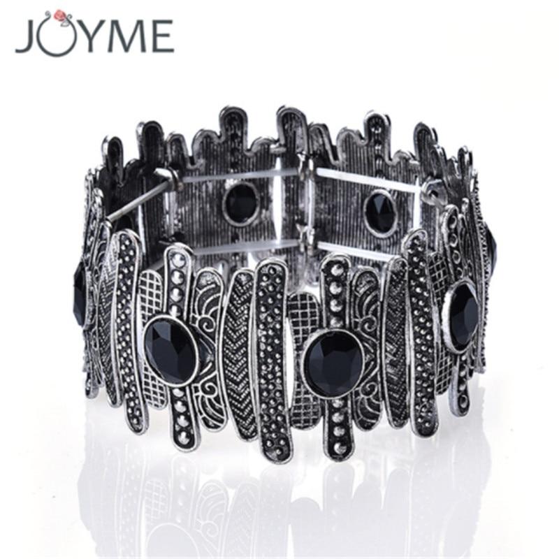 Brand Originality Vintage Charm Stretch Wide Bracelets & Bangles For Women Bohemia Cuff Bracelet Embellishment Crystal Jewelry