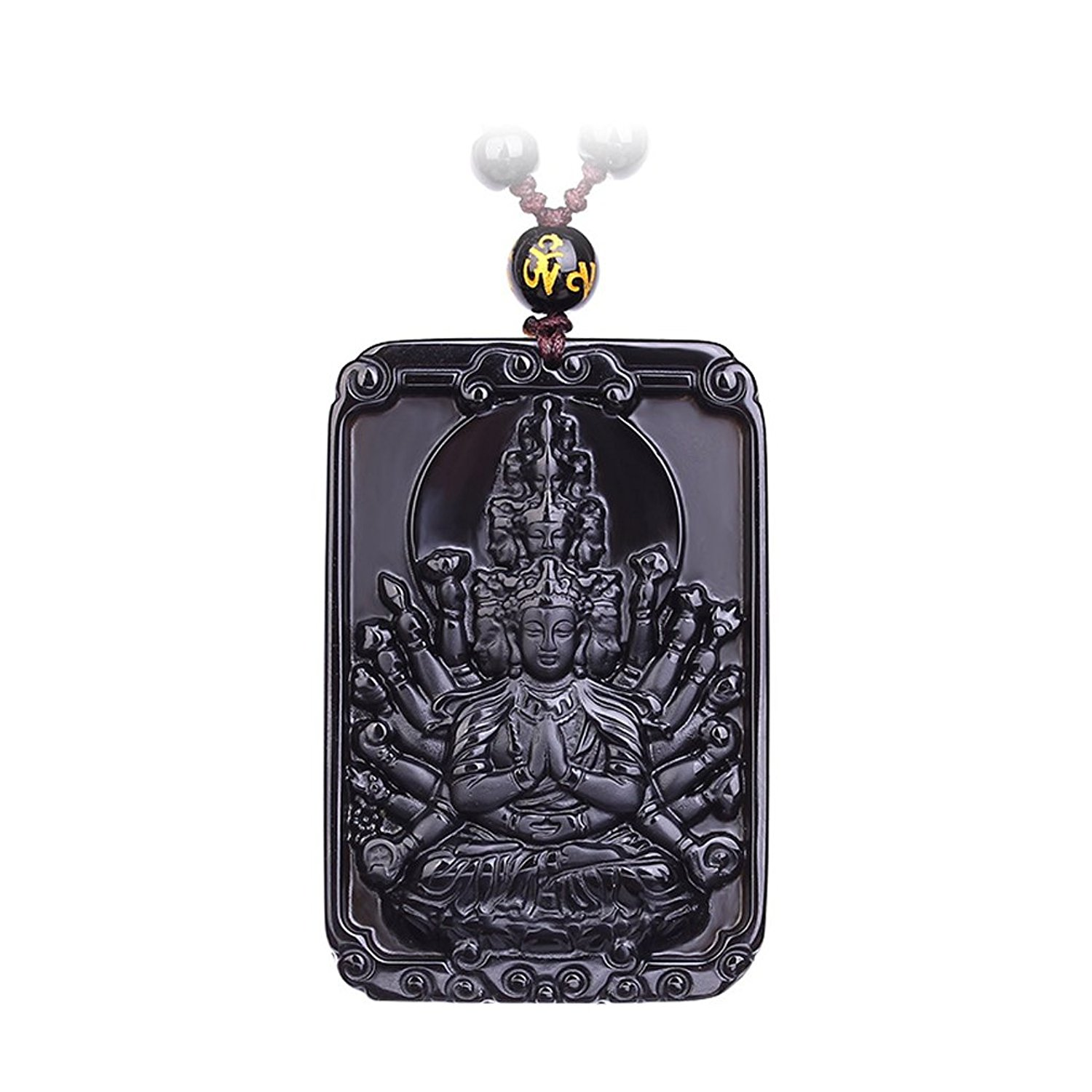 Koraba Fine Jewelry Natural Obsidian Guardians of Chinese Zodiac Pendant Necklace Free Shipping