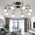 Художественный потолочный светильник в стиле ретро, лампа Эдисона, винтажный Лофт, деревянный потолочный светильник, современный светодио...