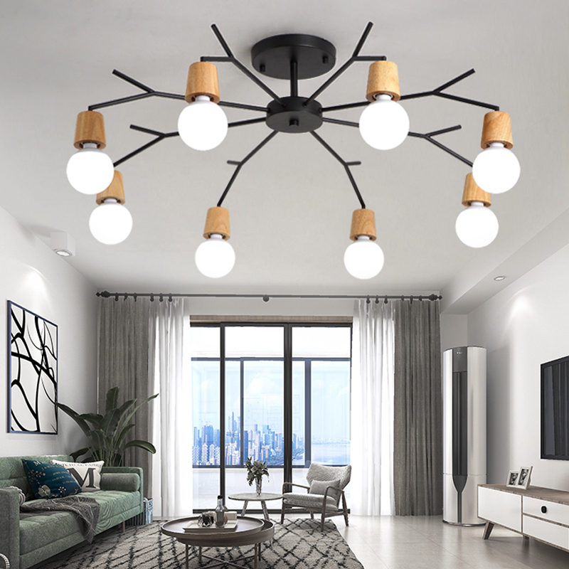 Art Spider Ceiling Lamp Retro Edison Bulb Vintage Loft Wood Ceiling Lights Modern LED Home Living Room Decor Fixtures