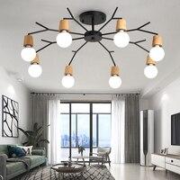Art Spider Ceiling Lamp Retro Edison Bulb Vintage Loft wood ceiling lights Modern LED Home Living Room Decor Fixtures