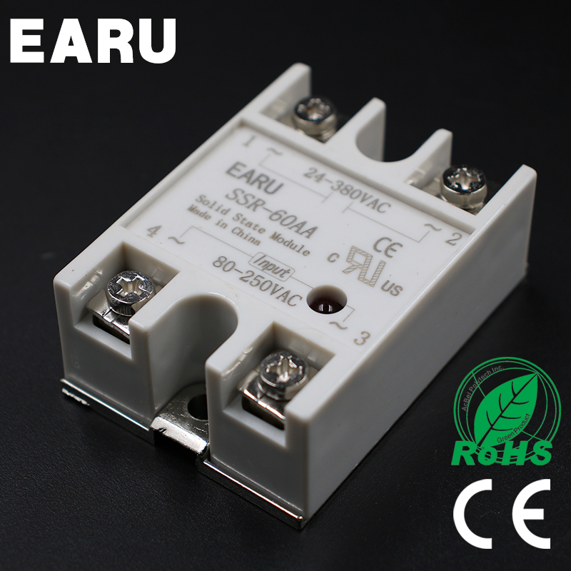 Solid State Relay Module SSR-60AA SSR-600 AA SSR 60A 80-250VAC Input to 24-380VAC Output Industry Control ssr 60aa 24 480vac three phases bem3 solid state relay