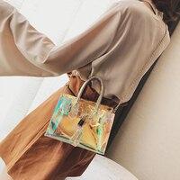 New 2018 Women Transparent Bag Clear PVC Handbags Women Beach Jelly Small Tote BagLock Head And