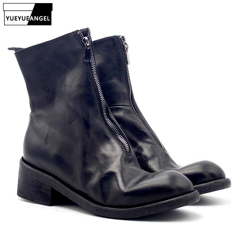 Роскошные мужские ботинки из натуральной кожи, зимние Винтажные ботинки с круглым носком на молнии в стиле милитари, классические черные ко