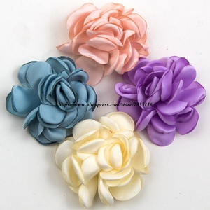 1PC 6cm 14colors Handmade Vintage Burned Edge Hair Rose Flowers Clips For Kids Accessories Satin Fabric Flowers For Headband(China)