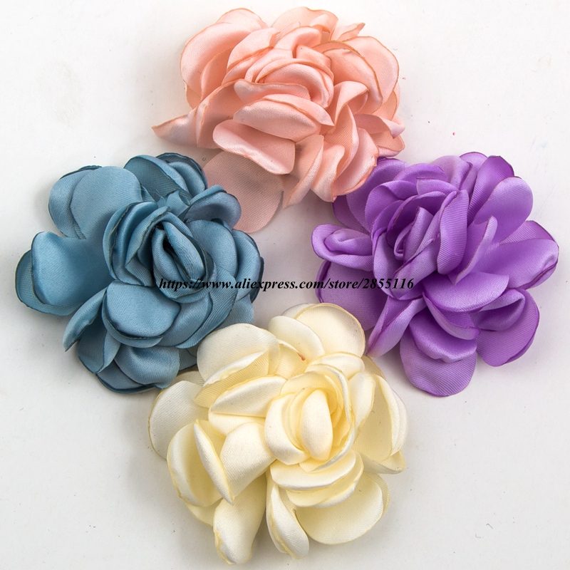 1PC 6cm 14colors Handmade Vintage Burned Edge Hair Rose Flowers Clips For Kids Accessories Satin Fabric Flowers For Headband