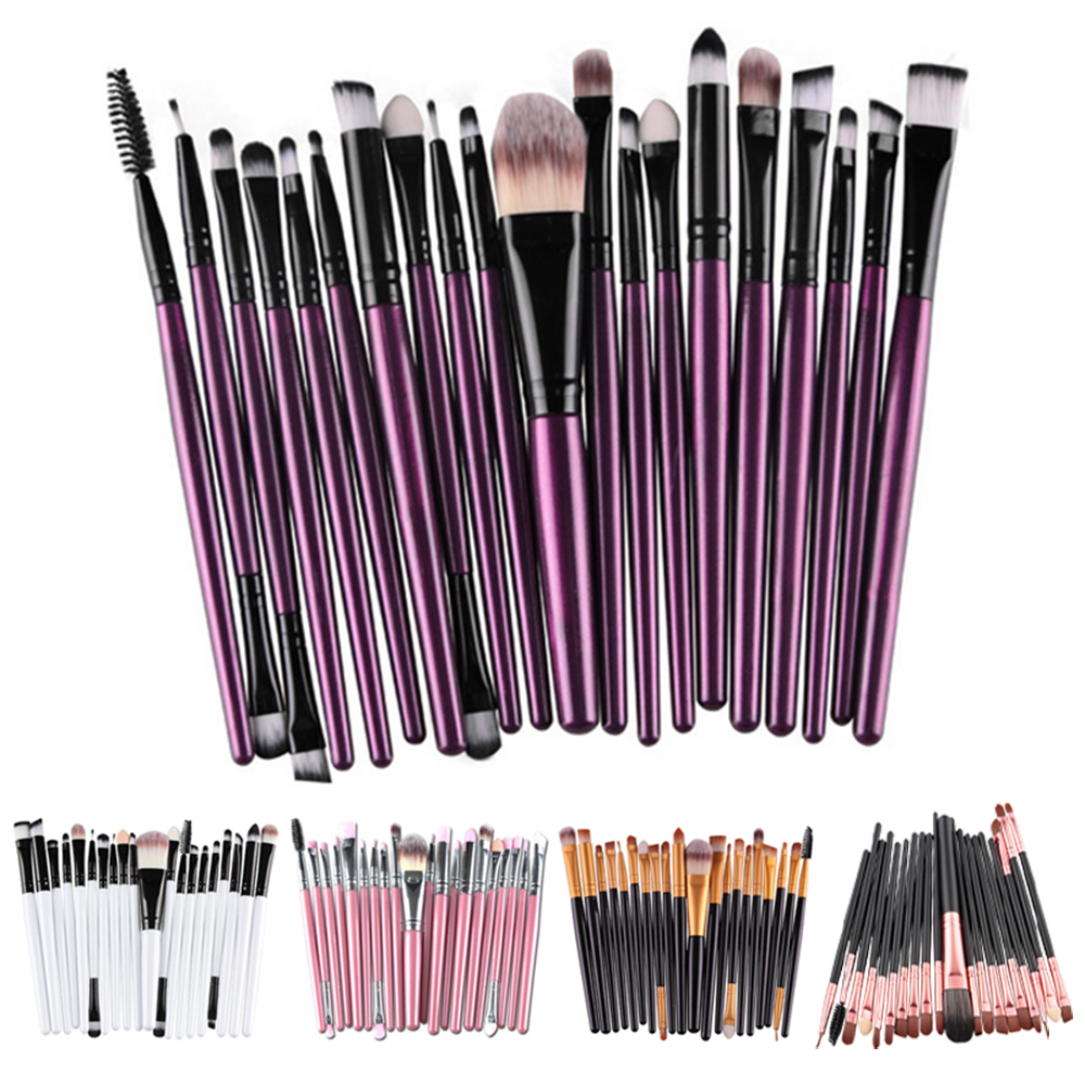 20 Pcs Eyes Makeup Brushes Set Eye Shadow Face Lip Makeup Brush for Eyebrow Powder Foundation Professional Brushes Cosmetic Tool 4 pcs golden professional makeup brushes waistline sculpting brush set cosmetic tool maquiagem accessories with original box