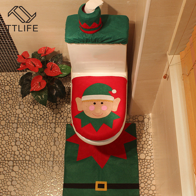 TTLIFE 1 Sets Christmas Decorations Xmas Toilet Seat Soft Cover And Rug Elf Decorative
