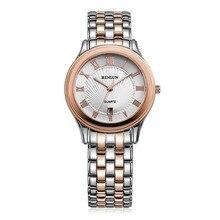 BINLUN Men's Rose Gold Plated Quartz Wrist Watch Stainless Steel Analog Waterproof Dress Watches