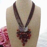 N071604 20'' 4Strands Garnet Crystal Necklace CZ Pendant