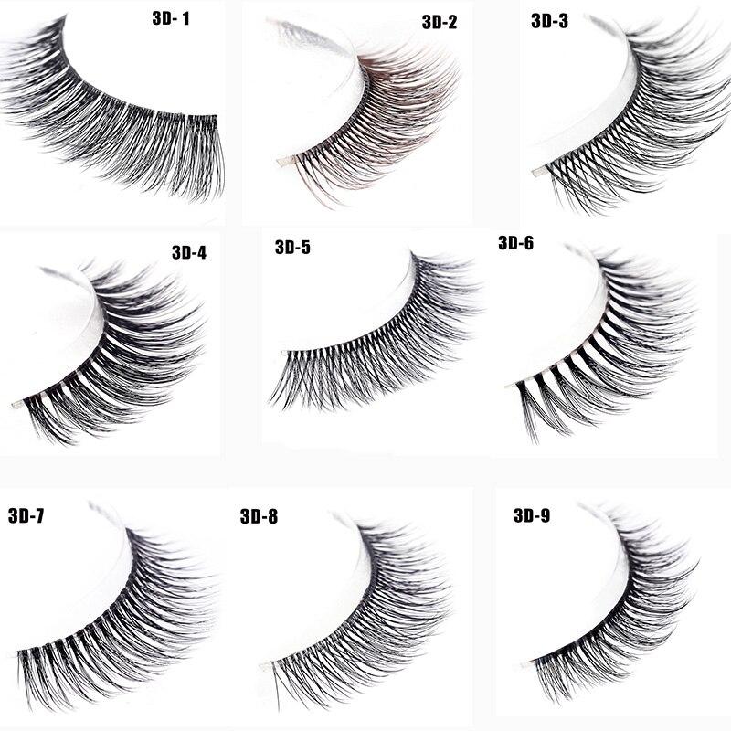 3 Pairs /set 3D 9 Kinds False Eyelashes  Natural Cross Thick  Fake Eye Lashes Professional Makeup Tool False Lashes