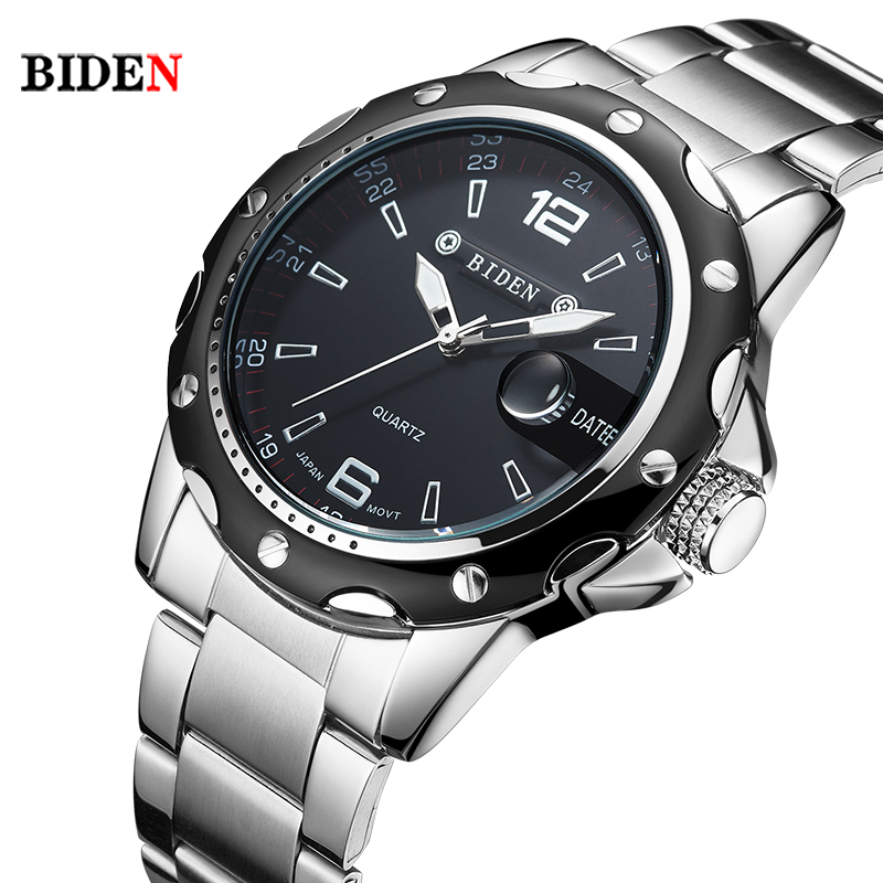 BIDEN Brand Full Stainless Steel Business watch men Fashion Quartz Wrist Watch Water Resistant Date Clock saat relogio masculino 2016 biden brand watches men quartz business fashion casual watch full steel date 30m waterproof wristwatches sports military wa