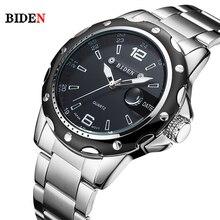 BIDEN Brand Full Stainless Steel Business watch men Fashion Quartz Wrist Watch Water Resistant Date Clock saat relogio masculino