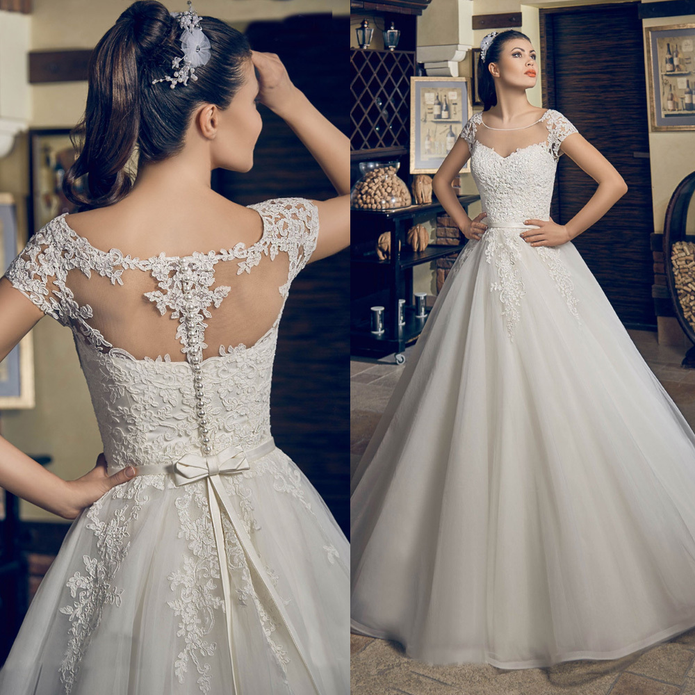 trouwjurk dentelle scoop robe de mariage princesse appliques bow robes de marie tage longueur perles princessejpg - La Roub De Mariage
