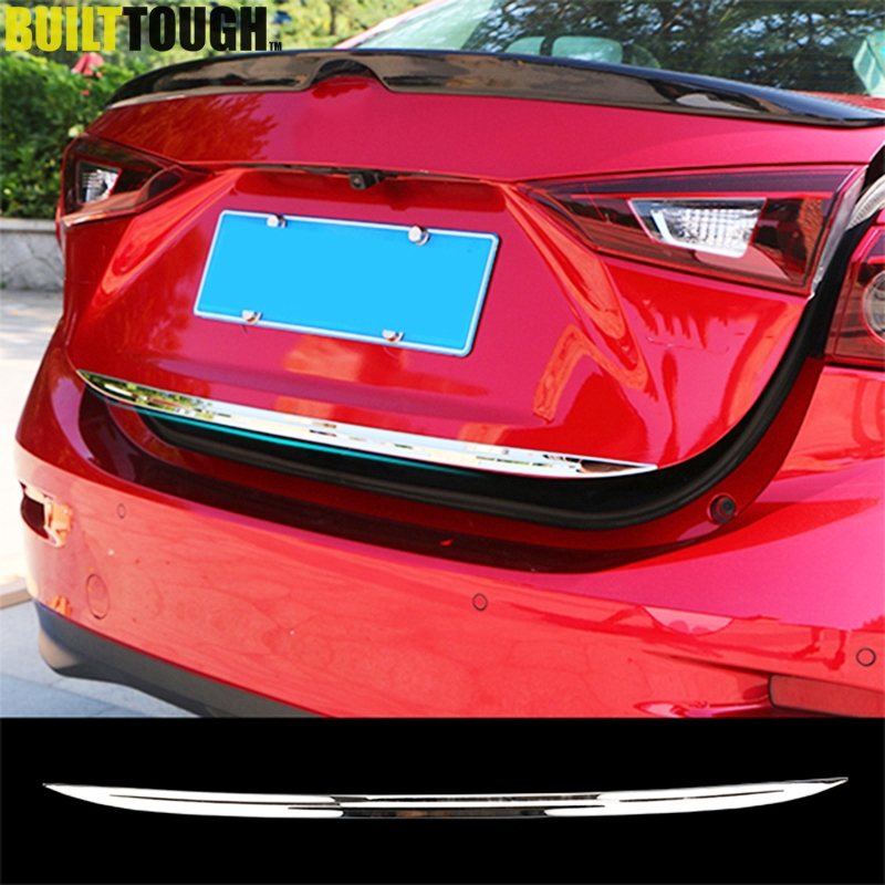 For Mazda 3 Axela Sedan 2014 2015 2016 2017 2018 Chrome Rear Trunk Lid Tailgate Back Door Edge Cover Trim Molding Garnish Strip(China)