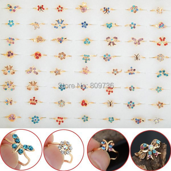 10pcs Gold Tone Assorted Design Crystal Ring Cute Kid Child Party Small Size Adj
