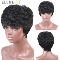 ELEMENT 6 Inch Short Synthetic Wig Pixie Cut Wigs 50% Human Hair Blend Layered Extra Short Straight Hairpiece for Black Women