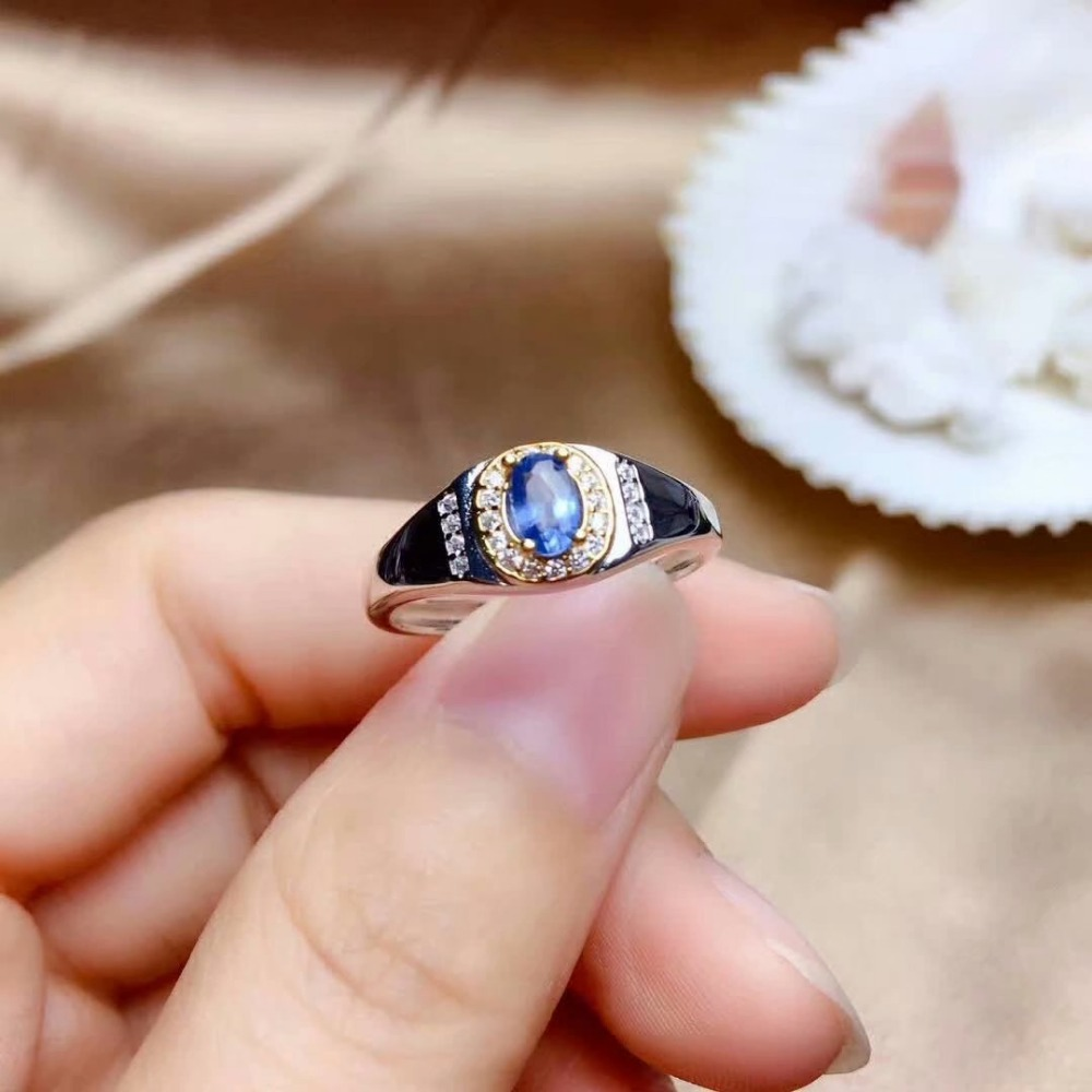 shilovem 925 silver sterling real natural sapphire Rings fine Jewelry wedding bands new trendy gift plant