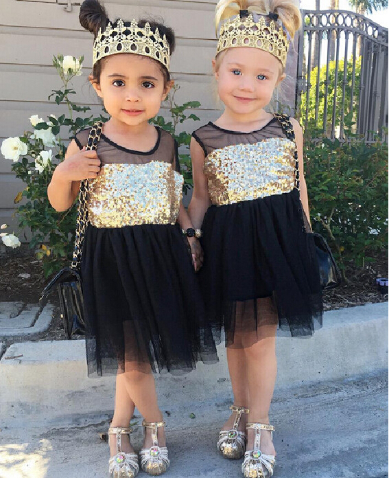 New Baby Kids Girls Toddler Princess Dresses Clothing Pageant Party Black Sequined Lace Mini Gold Formal Clothes Girl Dress 2
