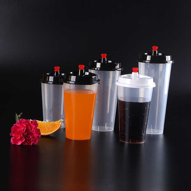 Disposable pp Clear Plastic Cup Milk Tea Cup with Lid