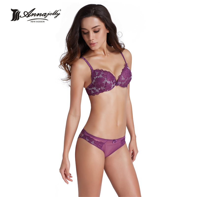 Annajolly Women Bra Sets Top Sexy Push Up Top Bra Lace Panties Embroidery Floral Brassiere Lingerie
