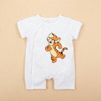 Nieuwe Baby jongen meisje Rompertjes Katoen Zacht Pasgeboren korte mouw zomer jumpsuit Mooie cartoon tijger baby outfit kleding Jumpsuit 1